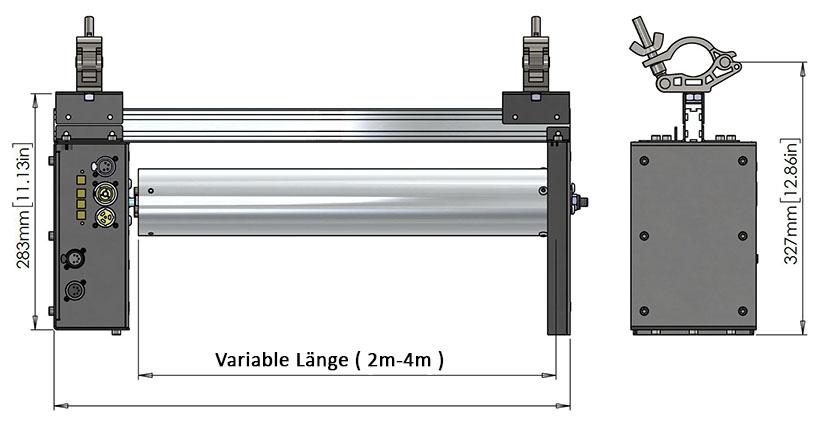 Hochwertige DMX Motorleinwand aus Aluminium ( 2m - 4m breit )