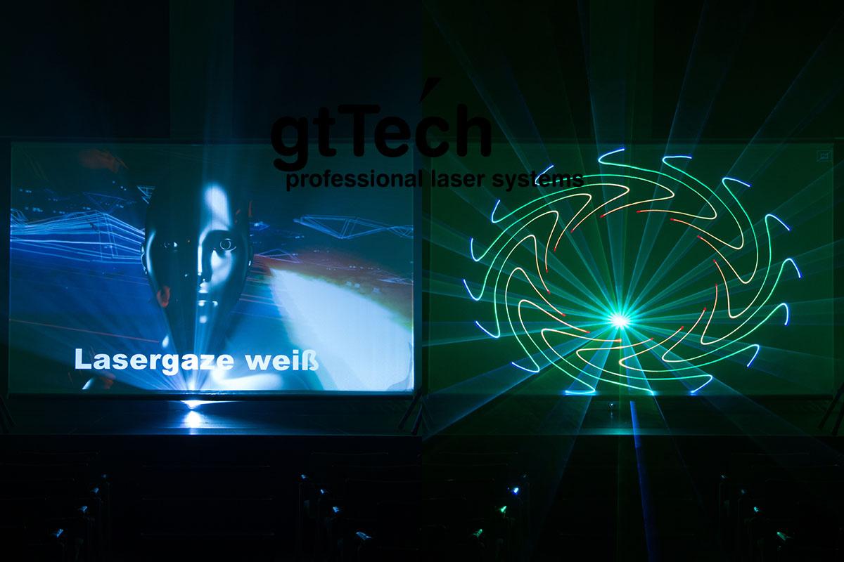 Projektion mit Laser und Beamer auf weißes Lasergaze